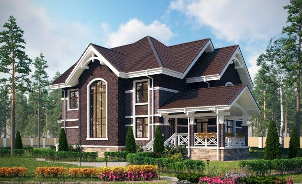 Интересный дом из темного кирпича